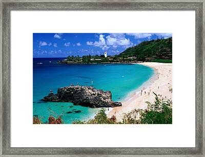 Overview Of Waimea Bay On The North Shore, Waimea, United States Of America Framed Print by Ann Cecil