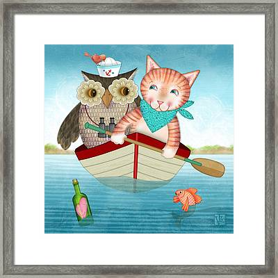 Owl And Cat Framed Print