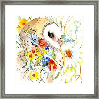 Owl And Flowers Framed Print