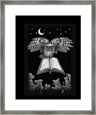 Owl And Friends Blackwhite Framed Print
