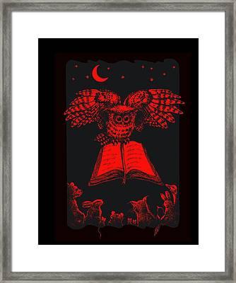 Owl And Friends Redblack Framed Print