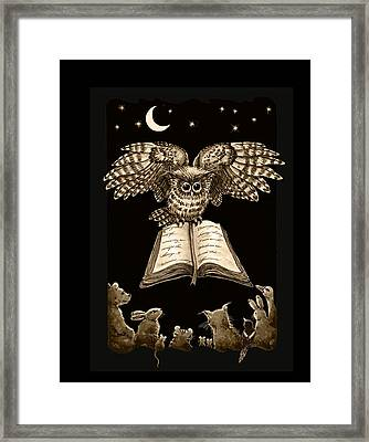 Owl And Friends Sepia Framed Print