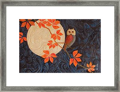 Owl And Moon On A Quilt Framed Print