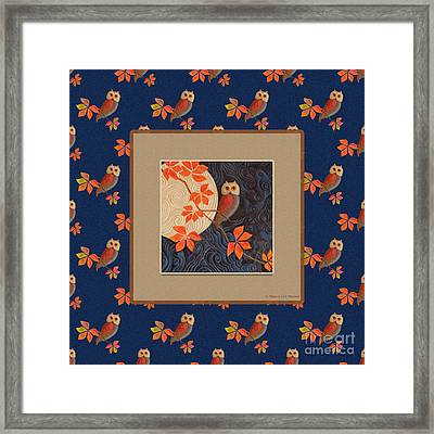 Owl And Moon On Midnight Blue Framed Print
