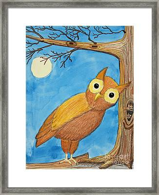 Owl And Moonlight Framed Print by Norma Appleton