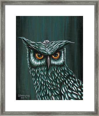 Owl And Mouse Framed Print by Kimberly Schwarzkopf