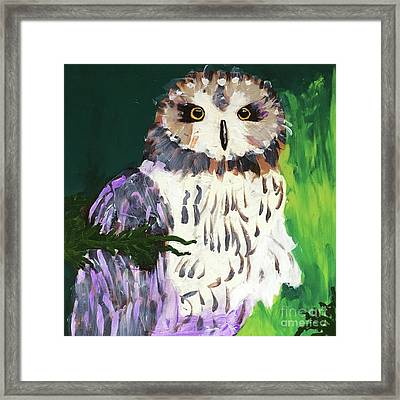 Owl Behind A Tree Framed Print
