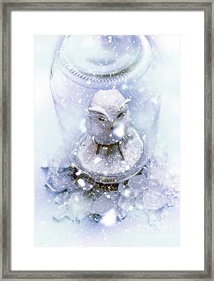 Owl Captive In Winters Frost Framed Print