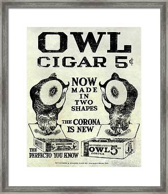 Owl Cigar Advertisement 1909 Framed Print
