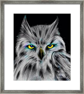 Framed Print featuring the drawing Owl Eyes  by Nick Gustafson