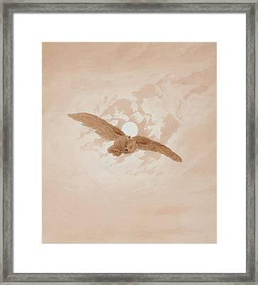 Owl Flying Against A Moonlit Sky Framed Print by Caspar David Friedrich