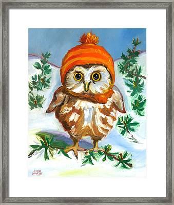 Owl In Orange Hat Framed Print