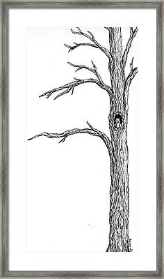Owl Ink Tree Framed Print