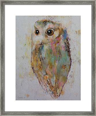 Owl Painting Framed Print by Michael Creese