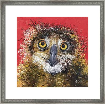 Owl Painting On Red Background Framed Print by Jan Matson