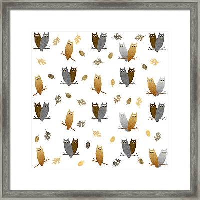 Owl Pattern Framed Print
