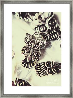 Owl Pendants. Charms Of Wisdom Framed Print by Jorgo Photography - Wall Art Gallery