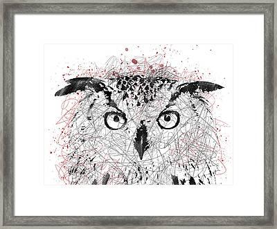Owl Sketch Pen Portrait Framed Print