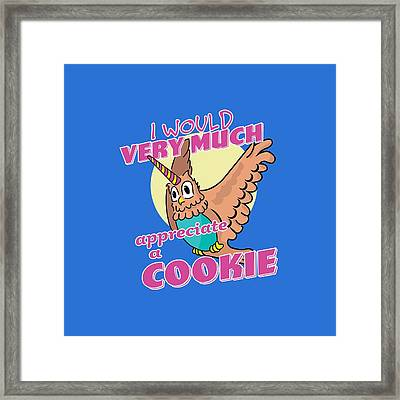 Owl Unicorn I Would Very Much Appreciate A Cookie Framed Print by William Stephens