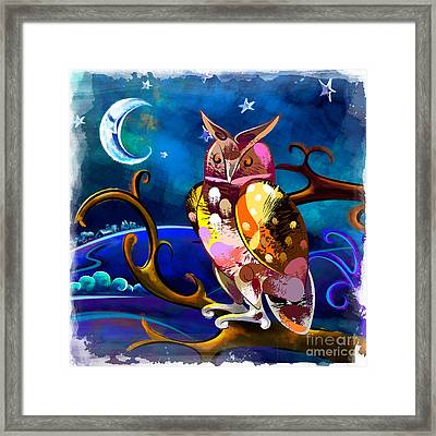 Owl Watching The Moon Framed Print by Bedros Awak