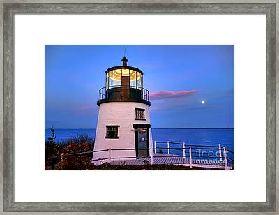 Owls Head Light Evening Framed Print by Olivier Le Queinec