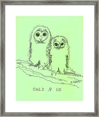 Framed Print featuring the drawing Owlz R Us by Denise Fulmer