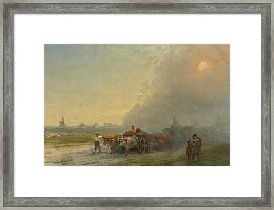 Ox-carts In The Ukrainian Steppe Framed Print