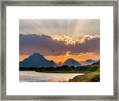 Oxbow At Sunset Framed Print by Mary Hone