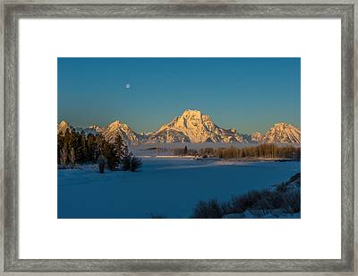 Oxbow Bend In Late Winter Framed Print by Yeates Photography