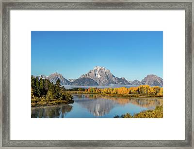 Oxbow Bend Reflecting Framed Print by Mary Hone