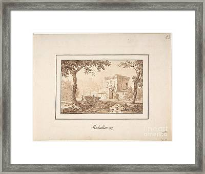 Oxcart Approaching A Fortified Building Framed Print