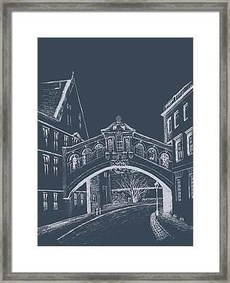 Framed Print featuring the digital art Oxford At Night by Elizabeth Lock