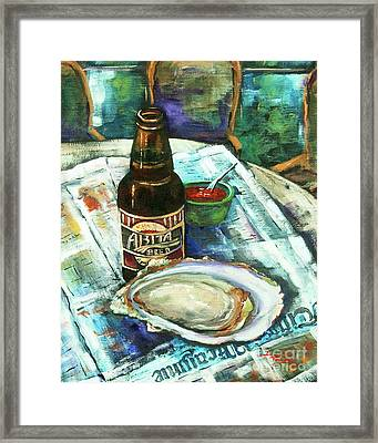 Oyster And Amber Framed Print