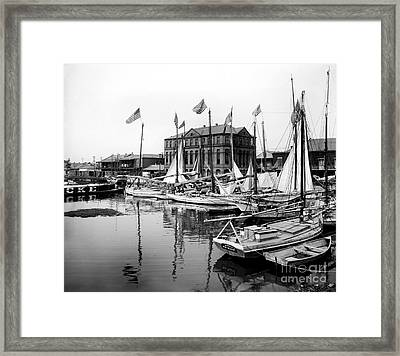 Oyster And Charcoal Luggers New Orleans Ca 1910 Framed Print