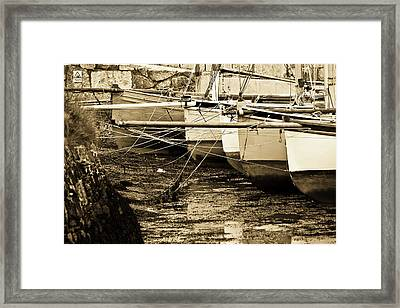 Oyster Boats Laid Up At Mylor Framed Print