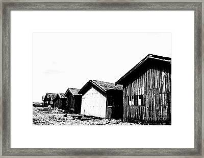 Oyster Breeding Sheds At Laramos Port On Bassin D'arcachon Framed Print by Sami Sarkis