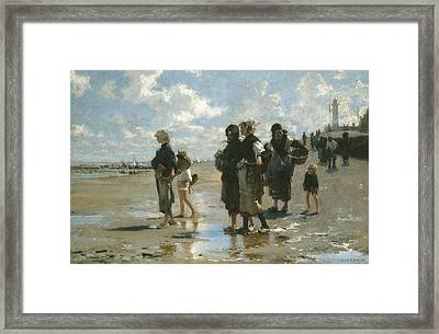 Oyster Gatherers At Cancale Framed Print by John Singer sargent