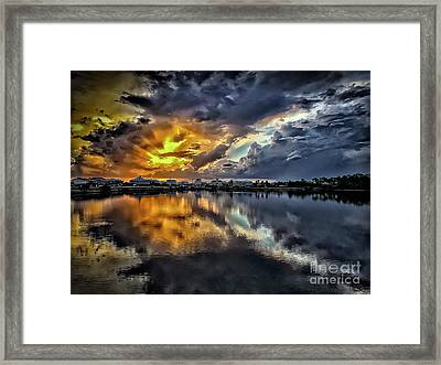 Oyster Lake Sunset Framed Print by Walt Foegelle