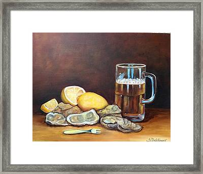 Oysters And Beer Framed Print