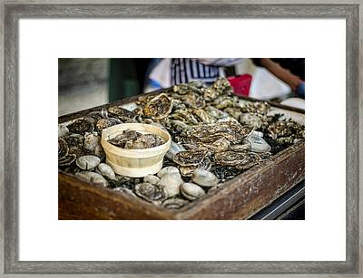 Oysters At The Market Framed Print