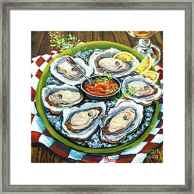 Oysters On The Half Shell Framed Print