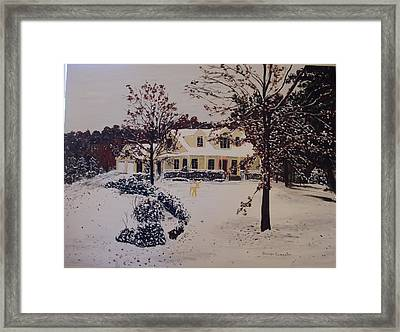 Ozark House Christmas Snow Framed Print by Sharon  De Vore