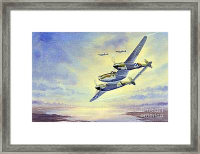 Framed Print featuring the painting P-38 Lightning Aircraft by Bill Holkham