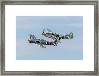 P-51 Fw-190 Rare Formation Framed Print