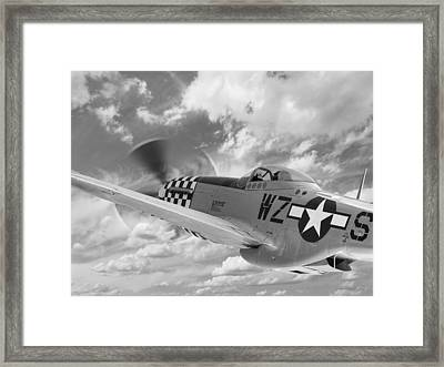 P-51 In The Clouds - Black And White Framed Print by Gill Billington