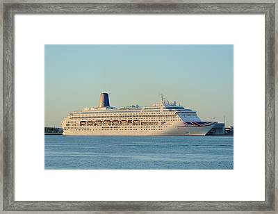 Framed Print featuring the photograph P And O Oriana Cruise Ship by Bradford Martin