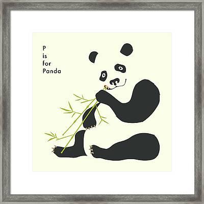 P Is For Panda Framed Print
