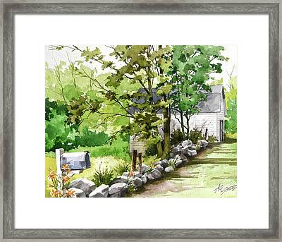 Mailbox 'n Barn Framed Print by Art Scholz