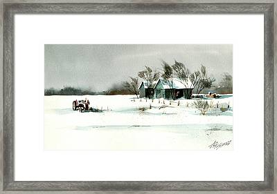 Winter's Farm Chill Framed Print by Art Scholz