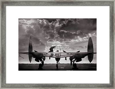 P38 Sunset Mission Framed Print by Peter Chilelli